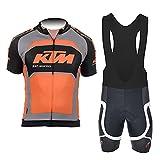 d'Stil Abbigliamento Ciclismo Da Uomo,Top Manica Corta + Pantaloncini Da Ciclismo Con Gel Pad Asciugatura Veloce Traspirante Anti-Sweat Per Bici Da Corsa MTB (Arancia, M)