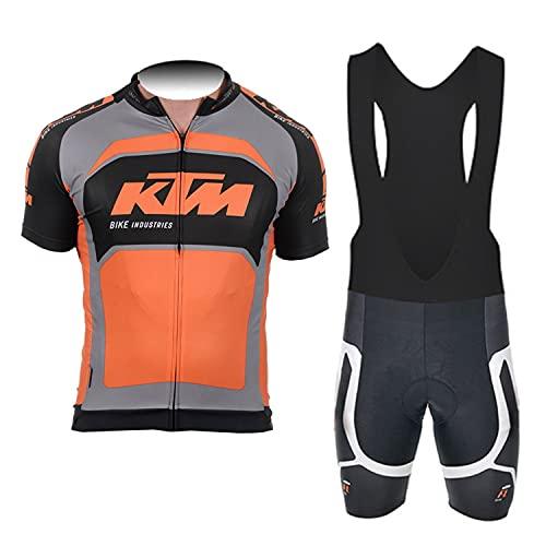 d'Stil Abbigliamento Ciclismo Da Uomo,Top Manica Corta + Pantaloncini Da Ciclismo Con Gel Pad Asciugatura Veloce Traspirante Anti-Sweat Per Bici Da Corsa MTB (Arancia, L)