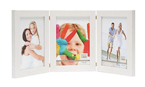 Deknudt Frames S41VF1-H3V-10.0X15.0 Bilderrahmen, aufklappbar, für 3 Fotos, Hochformat, Weiß 19,4 x 15,1 x 1,6 cm