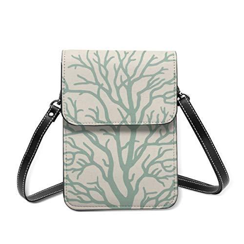 Bolso bandolera pequeño para mujer, diseño de árbol de coral en espuma de mar, color verde