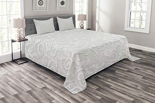 ABAKUHAUS Silber Tagesdecke Set, Abstrakt Curly Blätter, Set mit Kissenbezügen Waschbar, für Doppelbetten 264 x 220 cm, Grau