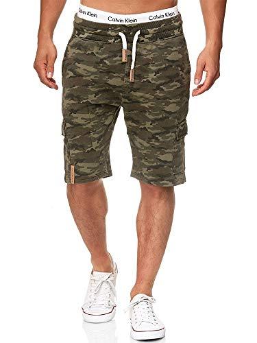 Indicode Herren White Rock Cargo Sweatshorts m. 5 Taschen aus 100% Baumwolle | Kurze Hose Cargo Shorts Militär Camouflage Sporthose Army Short Sweat Pants Freizeithose f. Männer Army M
