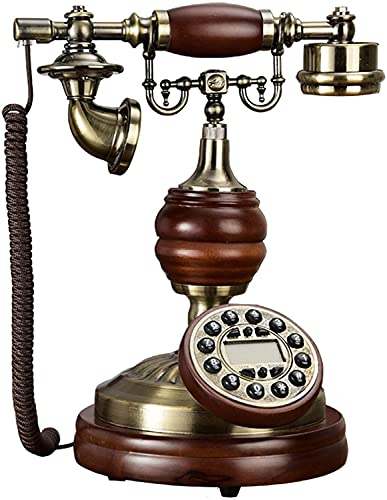 QWEEF Teléfonos Antiguos Retro Decorativo Creativo teléfono Vintage Fijo hogar con Cable teléfono con Cable Teléfono Europeo Decoración de Oficina en Casa (Color : Brown, Tamaño : One Size)