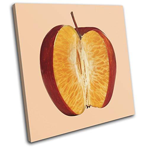 Bold Bloc Design - Apple Orange Concept Fruit Food Kitchen 60x60cm Single Tela Art Print Box incorniciato Appeso a Parete Foto - Pronto da Appendere - Canvas Art Print 13-4530(00B)-SG11-LO-B
