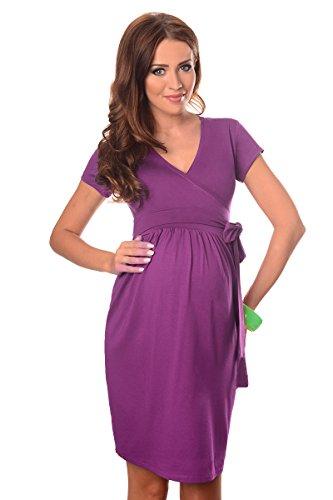 Purpless Damen Umstandsmode Umstandskleid Schwangerschaft Cocktailkleid V-Ausschnitt Kurzarm 5416 (38, Violet)