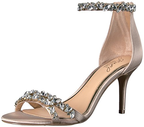 Jewel Badgley Mischka Women's Caroline Dress Sandal, Champagne Satin, 7 M US