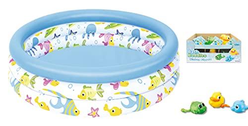Babypool Planschbecken Pool 3 Ring 102 cm + gratis Aufzieh Badetier