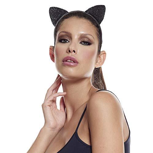 Aptafêtes - AC5117 - Serre-tête oreilles de chat velours paillettes - noir - Taille Unique