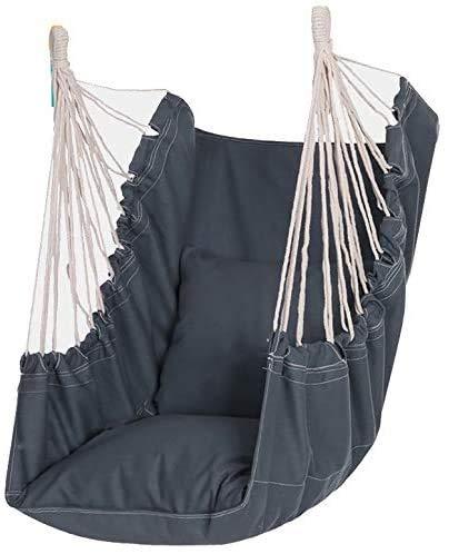 Wlnnes Silla de columpio de cuerda para colgar, gran comodidad y durabilidad, perfecta silla colgante con tejido de algodón de calidad, silla Utdoor, hogar, dormitorio, terraza, silla de jardín