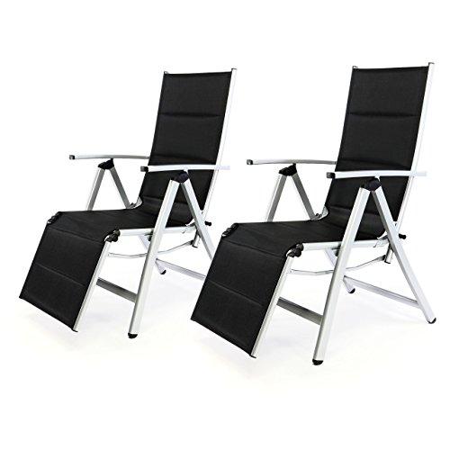 Nexos 2er Set Deluxe Alu Liegestuhl Klappstuhl mit Fußstütze Sonnenliege Campingliege Gartenliege verstellbar
