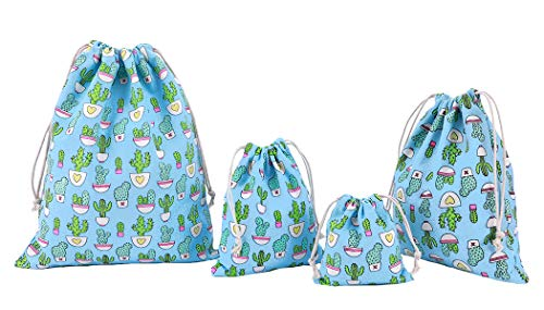 Amoyie Set de Bagage Organiseur 4 pc, Grand Sac Cordon Pochette Organza pour Accessoires, vêtements - Cactus Bleu Ciel