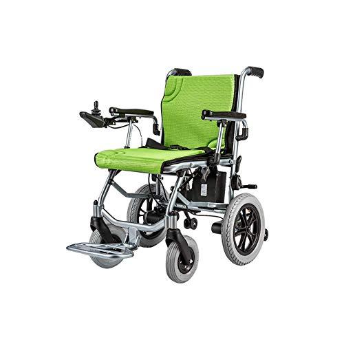 Y-L Disable Anziani uittrekbare elektrische rolstoel, inklapbaar, 17 kg (draagkracht 20 km), Joystick 360 °, gewicht 100 kg, breedte van het zitvlak 45 cm, groen, Monoc