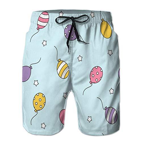 LJKHas232 Hombres cordón elástico Cintura bañador Playa Pantalones Cortos Globo Azul Pastel...