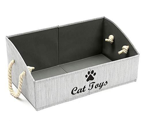 Geyecete große Katzenspielzeug-Aufbewahrungsboxen – faltbare Trapez-Organizer mit Baumwollseil-Griff, faltbarer Korb für Regale, Katzenspielzeug, Katzenkleidung und Zubehör, grau