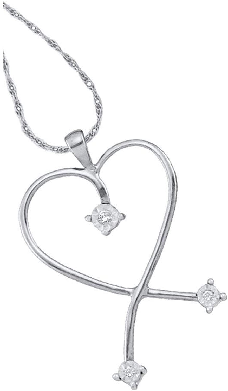 14kt White gold Womens Round Diamond Slender Heart Pendant 1 20 Cttw