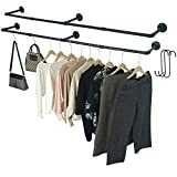Crehomfy Industrial Pipe Clothes Rack with 3 S-shaped Hooks, 72''L Wall Mounted Garment Rack, Heavy Duty Iron Garment Bar, Clothes Hanging Rod Bar for Laundry Room, Max Load 135Lb Black (2 Package)