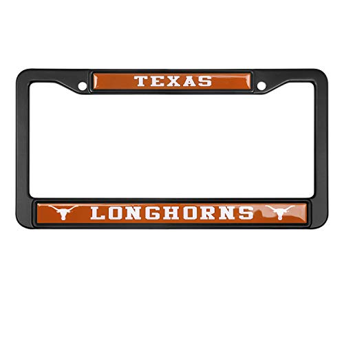 MT-Sports Football Fan Plate License Frame University Team School Logo Stainless Steel Metal Car Cover Holder Auto Car 4 Hole and ScrewsTag (Texas Longhorns)