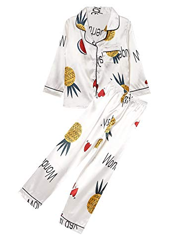 iEFiEL Unisex Schlafanzug Mädchen Jungen Langarm Satin Pyjama mit Knopfleiste Ananas-Druckmotiven Mädchen Kinder Zweiteiliger Schlafanzug Nachtwäsche Set Weiß 158-164