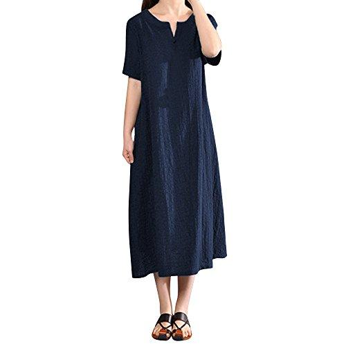 VEMOW Heißer Elegante Damen Frauen Plus Größe Baumwolle Leinenkleid Böhmen Casual Solide V-Ausschnitt Kurzarm Casual Täglichen Party Lose Kleid(Marine, 46 DE / 5XL CN)