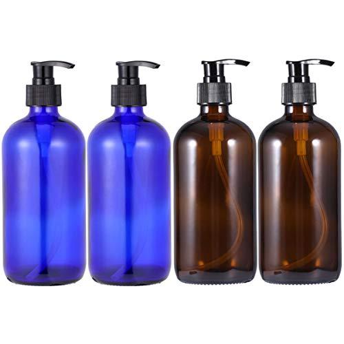 FRCOLOR 4Pcs 500Ml Bouteilles de Pompe de Lotion en Verre Ambre Vide Bouteilles de Shampoing Anti-Goutte pour Liquide Gel Douche Huile de Massage