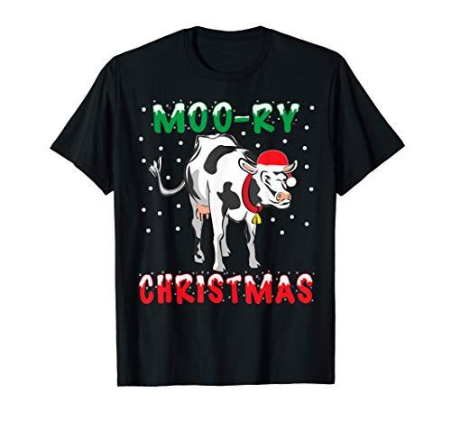 Moo-ry Christmas Funny Family Matching Pjs Cow Farmer Xmas T-Shirt