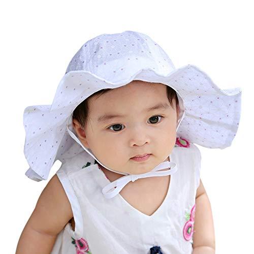 LACOFIA Baby Sonnenhut Neugeborene Mädchen Prinzessin Mütze Baumwolle Kleinkind Strand Fischerhut mit Verstellbarem Kinnriemen Weiß 0-12 Monate