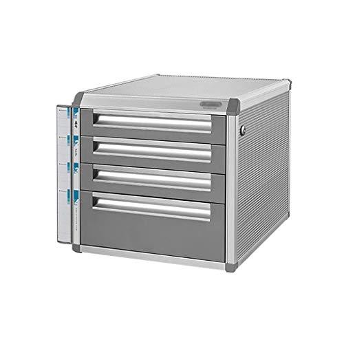 HYY-YY Clasificador plano de cajón, organizador de cajones con cerradura de varias capas de aleación de aluminio - gris (tamaño : 4 capas)