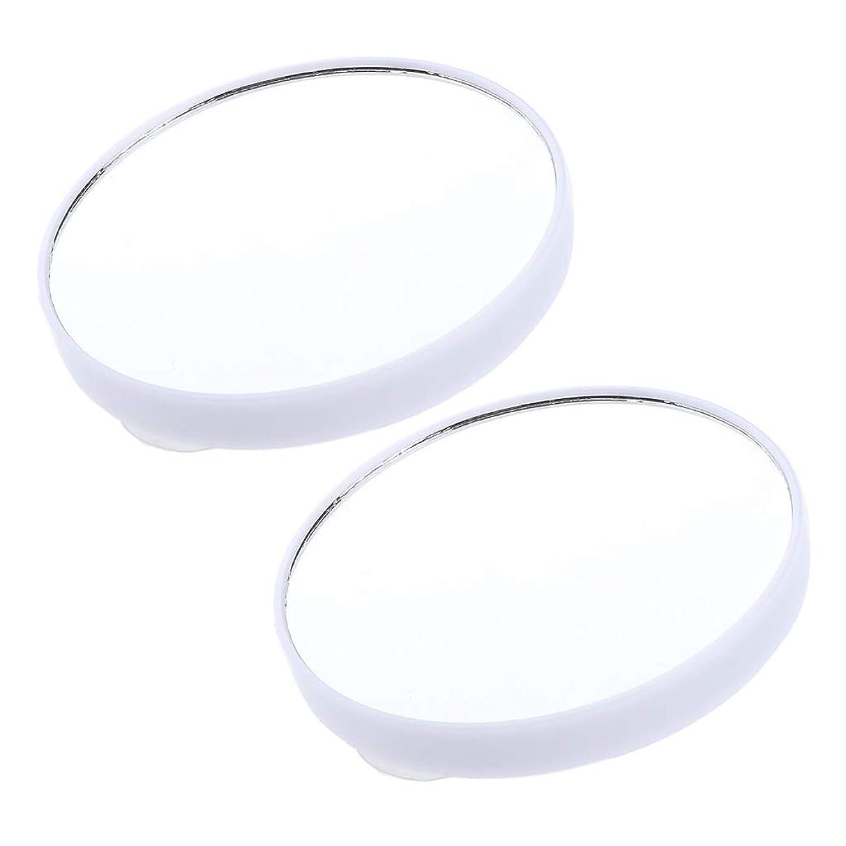 口セージロゴB Baosity 2個 10倍 拡大ミラー サクションメイクミラー 吸引カップ 化粧鏡 3色選べ - 白