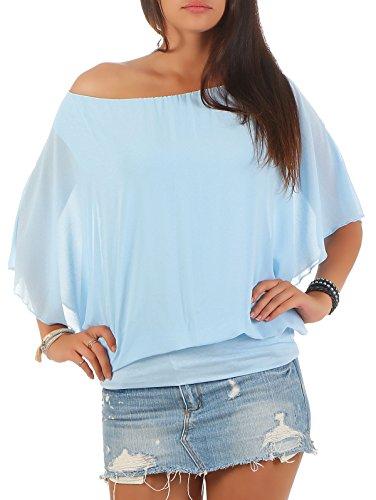 Damen Bluse im Fledermaus Look | Tunika mit Rundhals und breitem Bund | Blusenshirt Kurzarm | Elegant - Shirt 6296 (hellblau)