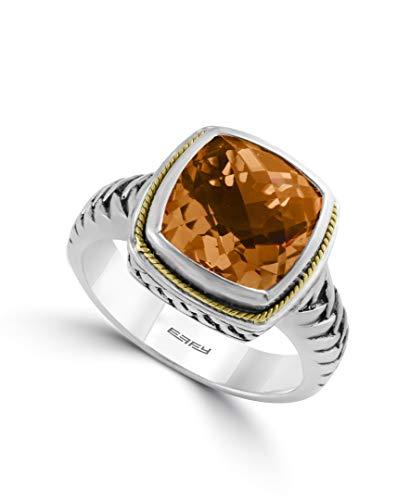 EFFY 925 STERLING SILVER/18K YELLOW GOLD CITRINE RING