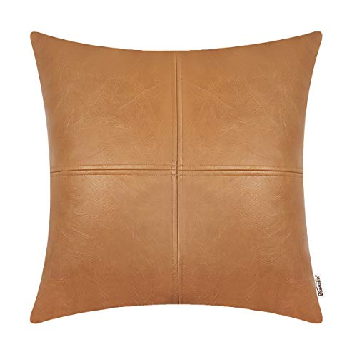 BRAWARM High Class Throw Pillow Cover Case for Sofa Couch Home Decor Solid Dyed Luxurious Faux Leather Patched 20 X 20 Inches Tan