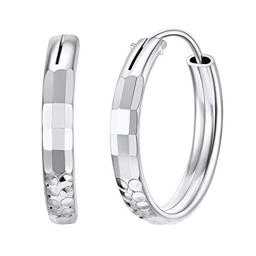 Silvora 20MM Cartilago Aros Plata Pendientes Mujer Corte de Diamante Hoop Earrings Hombre