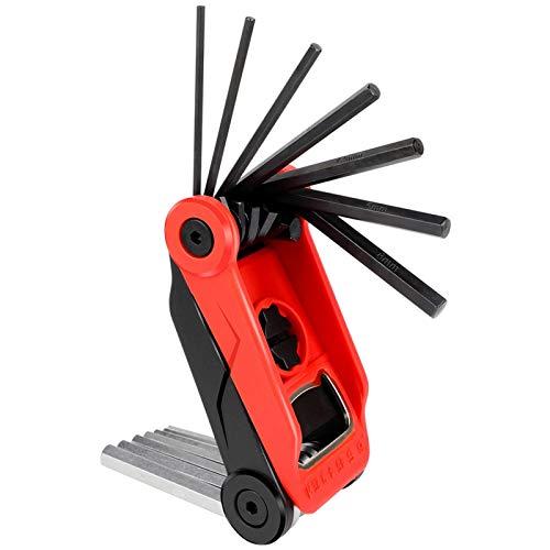 YUAN CHUANG Kit de Herramientas de reparación de neumáticos de Bicicleta Multifuncional Plegable Multitool con Llave Allen Abrebotellas Palanca de neumático Equipo de Ciclismo (Color : Red)