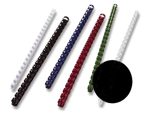 GBC BX211610 Spirali in Plastica per Rilegatura a Macchina, Formato A4, 21 Anelli, 16 mm, Nero, 100 Pezzi