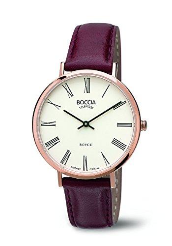 Boccia–Reloj de Cuarzo para Mujer con Blanco Esfera analógica Pantalla y Correa de Piel Color marrón b3590–07
