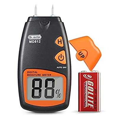 Dr.meter Digital Wood Moisture Meter,2 pins Portable Wood Water Moisture Tester , HD Digital LCD Display with 2 Spare Sensor Pins and one 9V Battery(Both Included) Range 5% - 40%,Accuracy: +/-1%
