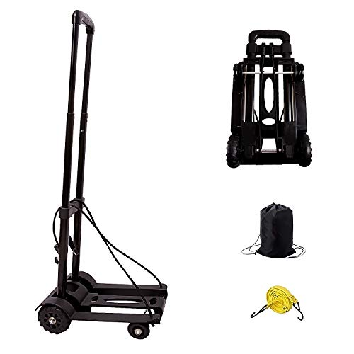 Folding Hand Truck, KINJOEK 40kg 88Lbs Solid Construction Utility Cart for Luggage with Oversized Wheels & Bonus Bungee Cord, Collapsible, Lightweight and Compact Luggage Dolly Cart for Travel, Black