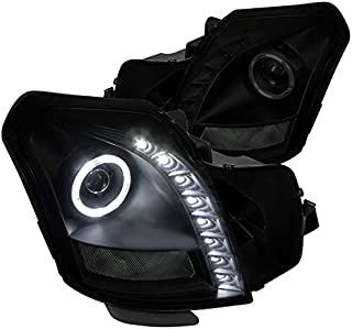For Cadillac CTS Black Smoke SMD LED Halo Projector Headlights Front Lamps Pair