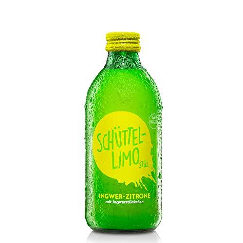 Kloster Kitchen Bio Schüttel-Limo Ingwer Zitrone, still, ohne Kohlensäure, mit Ingwerstückchen, 330ml in MEHRWEG Glasflasche, vegan (Zitrone, 20er Pack (20x 330ml))