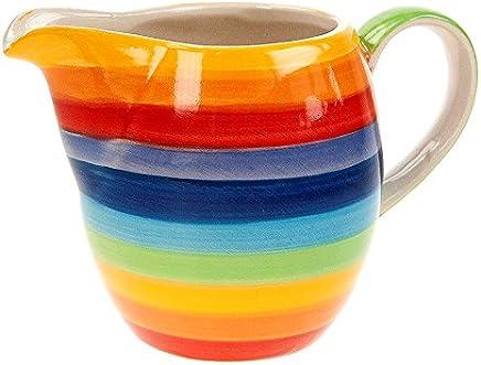 Preisvergleich für Windhorse Regenbogen gestreift Keramik klein Milchkännchen – 9 cm – 200 ml
