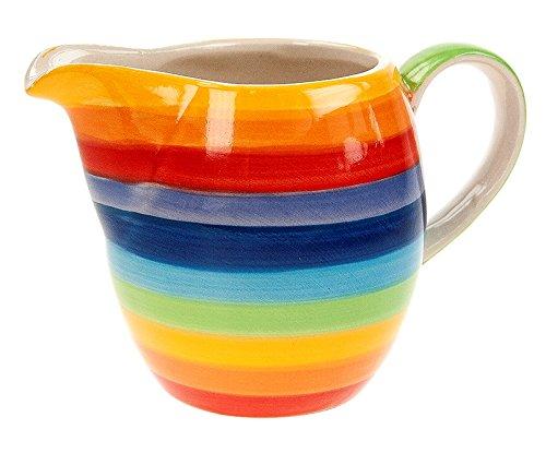 Windhorse arcobaleno a righe in ceramica piccola lattiera – 9 cm – 200 ml