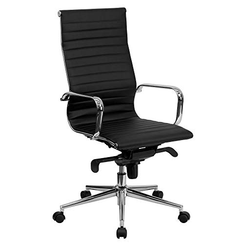 Flash Furniture High Back Black Ribbed LeatherSoft Executive Swivel Office Chair with Knee-Tilt Control and Arms