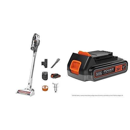 beyond by BLACK + DECKER 20V POWERSERIES Extreme Cordless Stick Vacuum Cleaner, White with Extra 2.0 Ah Lithium Ion Battery (BSV2020WAPB & LBXR2020APB)