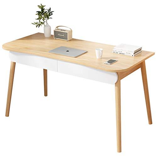 BIAOYU Escritorio de madera para oficina y hogar, con cajón, estilo moderno, simple, portátil, mesa de estudio, para estación de trabajo de juegos (color sin silla, tamaño: 100 cm)