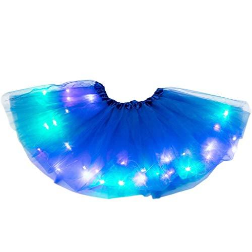 Riou Mädchen Tutu Rock Tüllrock LED Licht Ballet Tanz Rock Elastic Bund 50er Petticoat Unterrock für Festlich Karneval Fasching Kostüm