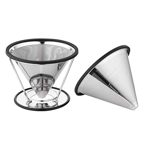 Vagabeans ® Paperless Pour Over Coffee Maker Set with Spare Coffee Filter Cone-Single Cup Coffee Maker for 1-4 Cups of Pourover Coffee-2nd Stainless Steel Metal Pour Over Coffee Dripper Cone Included