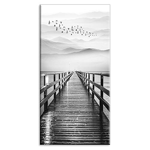Lake Wall Art for Aisle Corridor, PIY Black and White Pier with Birds Flying Canvas Prints Decor, Vertical Calm Wharf Mountain Landscape (1' Thick Artwork, Waterproof, Bracket Mounted Ready to Hang)
