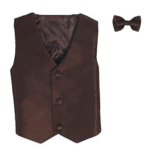 Vest and Clip On Boy Bowtie set - BROWN - 8/10