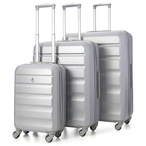 Aerolite Leichter ABS Hartschale 4 Rollen 3 Teilig Trolley Kofferset Koffer Gepäck-Set Reisekoffer Hartschalenkoffer Rollkoffer Gepäck, Silber