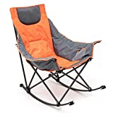 Sunnyfeel Camping Rocking Chair, Luxury Padded Recliner, Folding Chair with Built-in Pocket, Heavy Duty, for Lawn/Outdoor/Picnic/Lounge/Patio, Foldable Camping Rocker Chairs with Carry Bag (Orange)